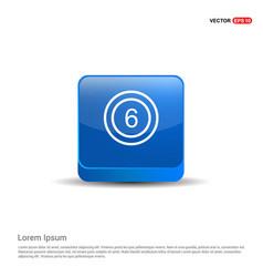 Cricket 6 icon - 3d blue button vector