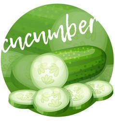 Cucumber icon on bright gradient backdrop vector