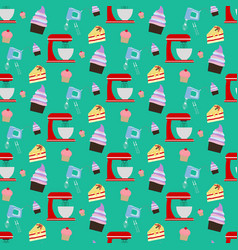 cupcake and mixer pattern vector image