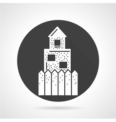 Defence wall black round icon vector image