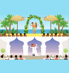 different wedding ceremonies set traditional vector image