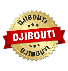 Djibouti round golden badge with red ribbon vector
