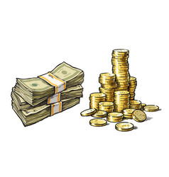 Dollar bills and stack of gold coins set hand vector