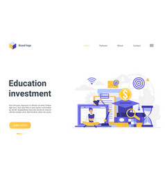 Education investment landing page student vector