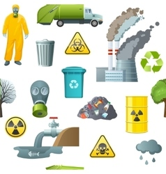 Environmental Pollution Cartoon Pattern vector image