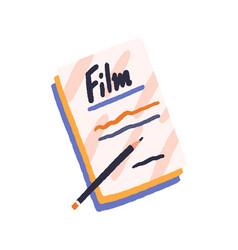 Film scenario papers and pencil handwritten movie vector