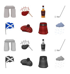 flag kilt rainy weather capscotland country vector image