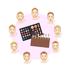 flat set different woman face types with vector image