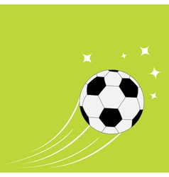 Flying football soccer ball motion trails stars vector image