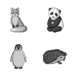 Fox panda hedgehog penguin and other animals vector