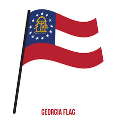 georgia us state flag waving on white background vector image