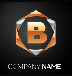 gold letter b logo in the golden-silver hexagonal vector image