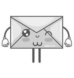grayscale kawaii cute funny e-mail message vector image