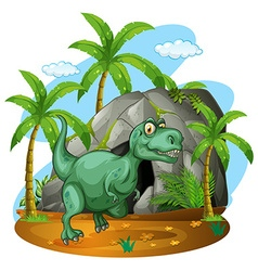 Green dinosaur standing by the cave vector image