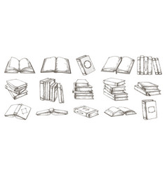 hand drawn books black and white pencil sketch vector image
