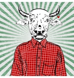 Hand Drawn Fashion of dressed up bull vector image
