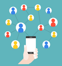 hand holding mobile phone with social network vector image
