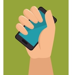 Hand holding smartphone with blue screen vector