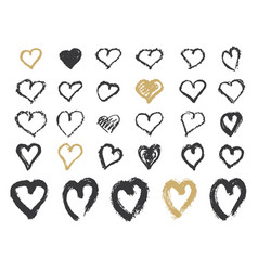 Hand-painted ink with hearts vector