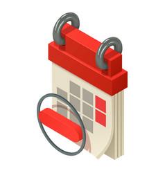 Hanging calendar icon isometric style vector