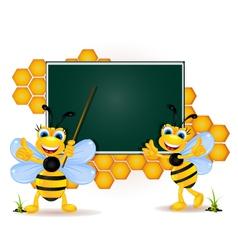 Happy bee cartoon with blank board vector