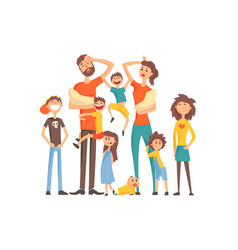 Happy caucasian family with many children portrait vector