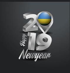 Happy new year 2019 grey typography with rwanda vector