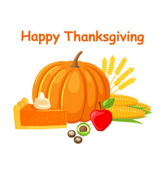 Happy thanksgiving day with food poster vector