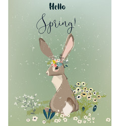 Hare with flowers vector