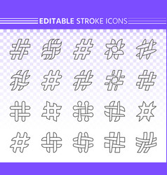hashtag simple black line icons set vector image