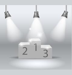 illuminated winners podium isolated on grey vector image