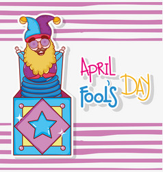 Jester box humor to fools day celebration vector