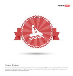 Jet boat icon - red ribbon banner vector