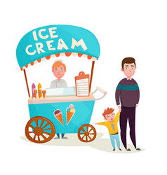 Kid near ice cream seller cartoon vector