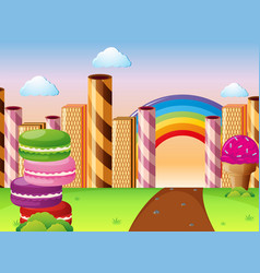 land with different kinds of desserts vector image