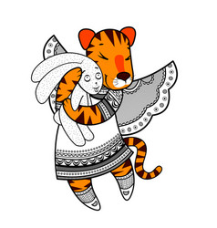 Lovely tiger with wings in beautiful clothes with vector