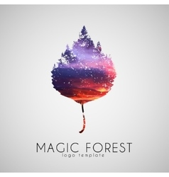 Magic forest logo Leaf trees logo Beautiful logo vector