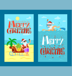 merry christmas santa claus sleigh mask flippers vector image