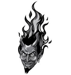 monochromatic smiling devil face vector image
