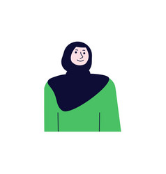 Muslim woman avatar in front view vector