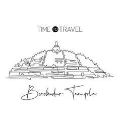 One single line drawing candi borobudur temple vector