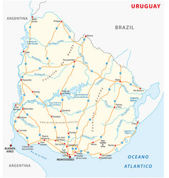 oriental republic of uruguay road map vector image