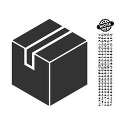 Package icon with men bonus vector