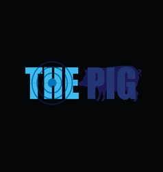 Pig silhouette in blue vector