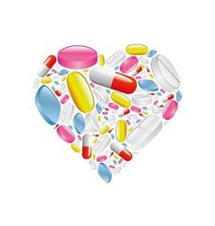 Pills and capsule in heart vector