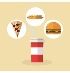 Pizza hot dog and hamburger design vector image