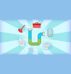 Plumber horizontal banner tools cartoon style vector