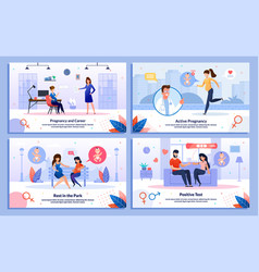 pregnant woman active life flat banners set vector image