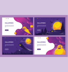 purple halloween night scene with pumpkin and moon vector image