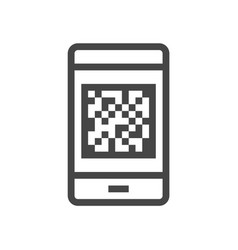 qr code scanner identification line icon 48x48 vector image